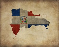 Map with Flag Overlay Dominican Republic Fine-Art Print