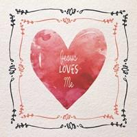 Watercolor Heart Jesus Loves Me Fine-Art Print