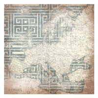 Patterned Map Europa Fine-Art Print