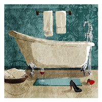 Teal Drink And Heals Bath Fine-Art Print