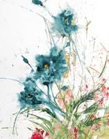 Flora Blue Crop on White Fine-Art Print