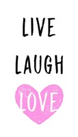 Live Laugh Love - White with Pink Heart Fine-Art Print