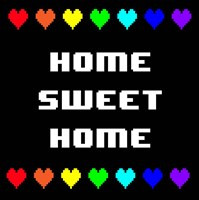 Home Sweet Home -  Black with Pixel Hearts Fine-Art Print