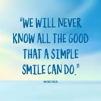 Simple Smile - Mother Teresa Quote (Blue) Fine-Art Print