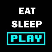 Eat Sleep Play - Black with Blue Text Fine-Art Print