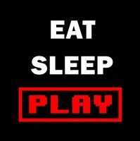 Eat Sleep Play - Black with Red Text Fine-Art Print