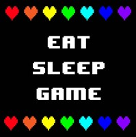 Eat Sleep Game -  Black with Pixel Hearts Fine-Art Print
