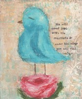 Blue Bird, Pink Flower Fine-Art Print