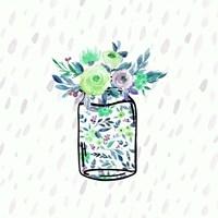 Mason Jar Florals Framed Print