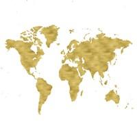 World Map Burnished Gold Fine-Art Print