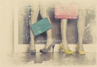 Vintage Fashion Pop of Color Heels and Handbags Fine-Art Print