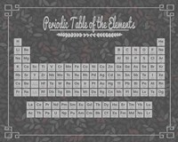 Periodic Table Gray and Red Leaf Pattern Dark Fine-Art Print