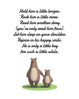 Hold Him A Little Longer Bear And Cub White Fine-Art Print