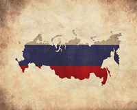 Map with Flag Overlay Russia Fine-Art Print