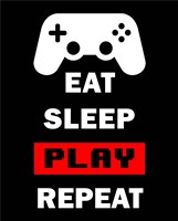 Eat Sleep Game Repeat  - Black and Red Fine-Art Print