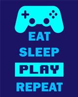 Eat Sleep Game Repeat  - Blue Fine-Art Print