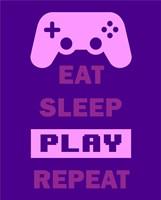 Eat Sleep Game Repeat  - Purple Fine-Art Print