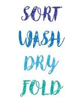 Sort Wash Dry Fold  - White and Blue Fine-Art Print