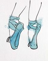Ballet Shoes En Pointe Blue Watercolor Part I Fine-Art Print