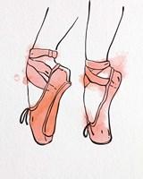 Ballet Shoes En Pointe Orange Watercolor Part I Fine-Art Print