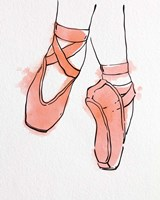 Ballet Shoes En Pointe Orange Watercolor Part II Framed Print