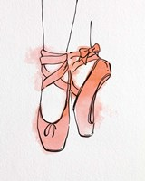 Ballet Shoes En Pointe Orange Watercolor Part III Fine-Art Print