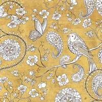 Color my World Bird Paisley I Gold Fine-Art Print