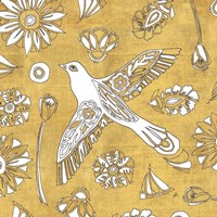 Color my World Nordic Woodcut I Gold Fine-Art Print