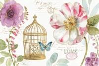 Rainbow Seeds Floral Birdcage I Fine-Art Print