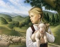 Girl With Lamb Fine-Art Print