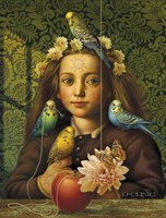 Girl With Parakeets Fine-Art Print