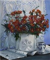 Vaso Bianco con Daliette Amaranto Fine-Art Print