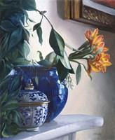 Vaso Blu e Fiore Arancione Fine-Art Print