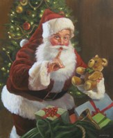 Santa With Teddy Bear Fine-Art Print