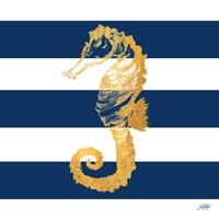 Gold Seahorse on Stripes II Fine-Art Print