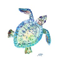 Sea Life In Blues I (turtle) Fine-Art Print