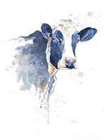 Watercolor Blue Cow Fine-Art Print