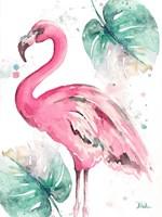 Watercolor Leaf Flamingo I Fine-Art Print