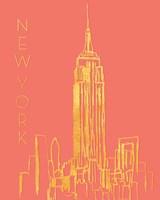 New York on Coral Fine-Art Print