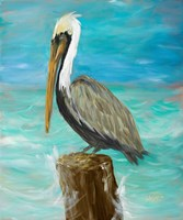 Single Pelican on Post Fine-Art Print