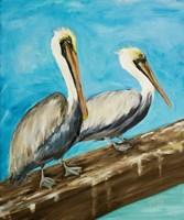 Two Pelicans on Dock Rail Fine-Art Print