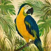 Island Birds Square on Burlap II Fine-Art Print