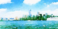Watercolor NYC Skyline I Fine-Art Print