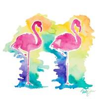 Sunset Flamingo Square I Fine-Art Print