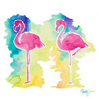 Sunset Flamingo Square II Fine-Art Print
