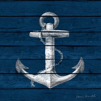 Anchor on Blue Wood Fine-Art Print