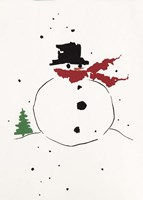 Snowman with Red Scarf Fine-Art Print