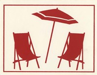 Red Umbrella & Chairs Fine-Art Print