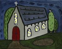 Church with Red Door Fine-Art Print