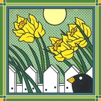 Daffodils 2 With Kernal The Crow Fine-Art Print